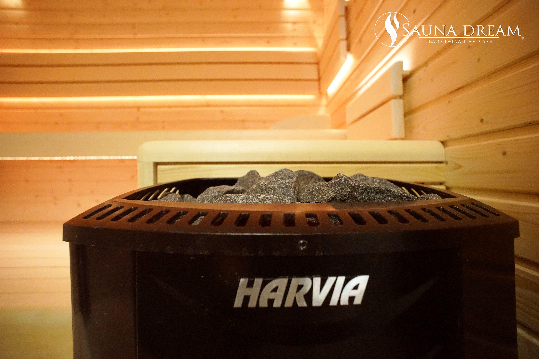 Saunová kamna o výkonu 9 kW s kvalitními saunovými kameny z gabra