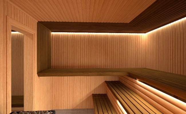 Modern sauna interiér saunadream