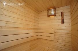 Interiér saunové kabiny výbava Comfort- finský smrk a africká vrba abachi